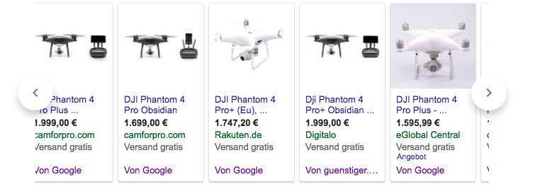 Produktanzeigen von Google und guenstiger.de
