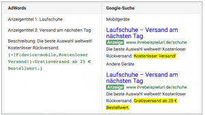 IF-Funktionen in Google AdWords
