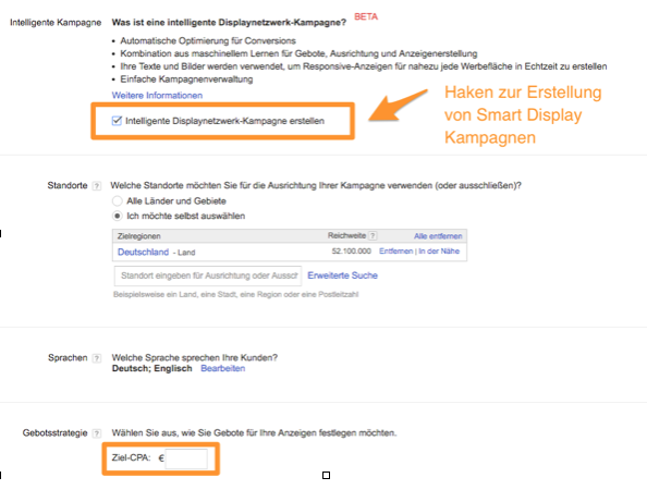 Kampagneneinstellungen in Google AdWords