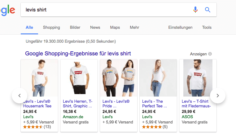 Amazon wirbt bei Google Shopping