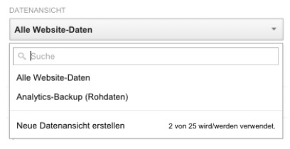 Google Analytics Datenansicht