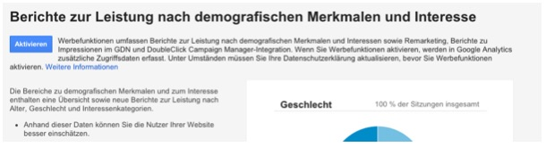 Demographische Daten in Analytics