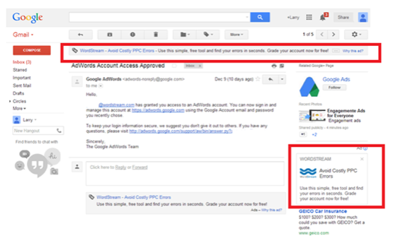 Gmail Sponsored Promotions im Gmail-Konto