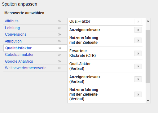 Qualitätsfaktor in Google AdWords