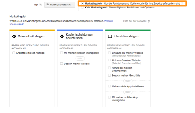 Auswahl des Marketing-Ziel in Google AdWords