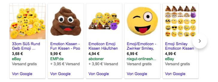 Beispielhafte Produktanzeigen (Quelle: Screenshot)