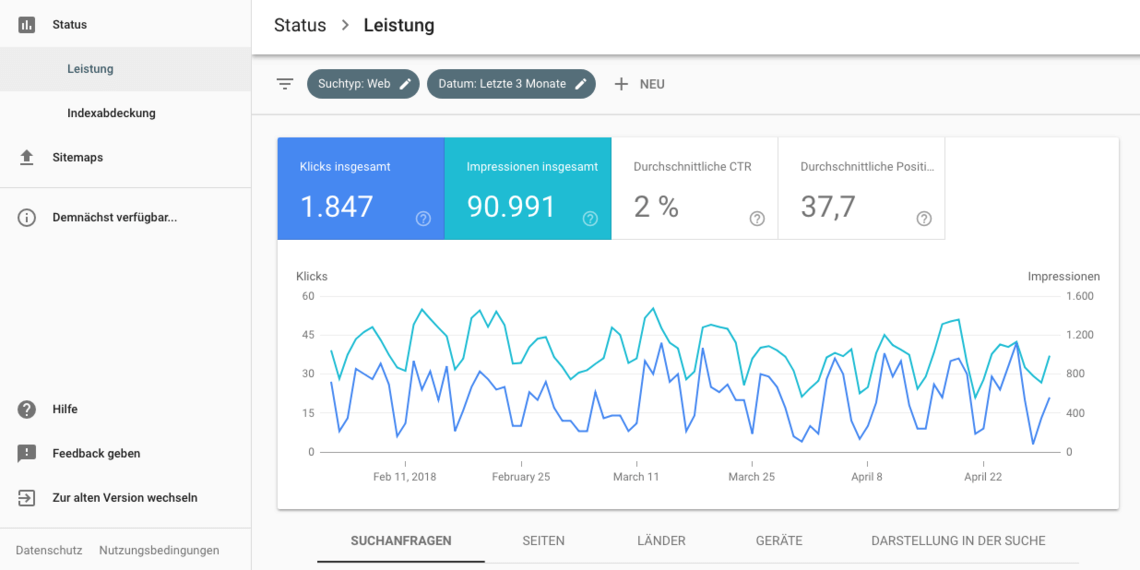 Google Search Console Beta - Leistungsbericht