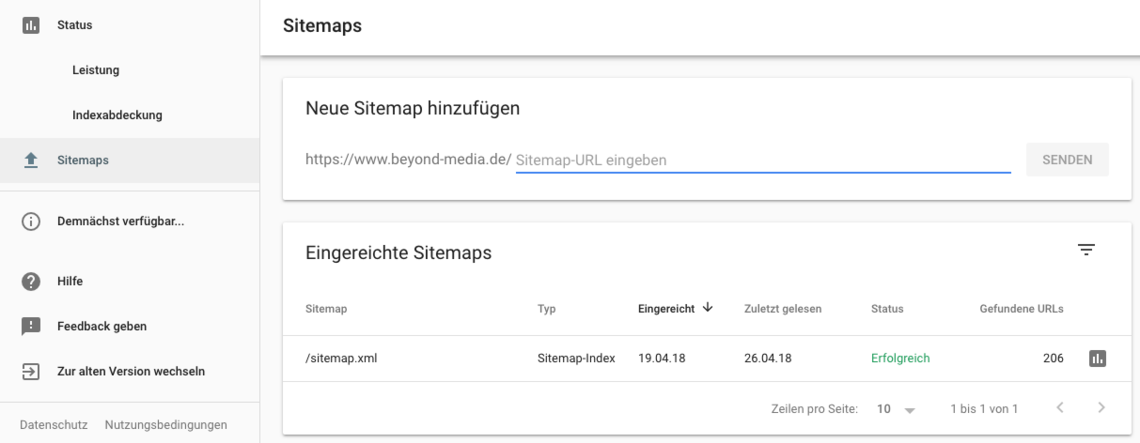 Google Search Console Beta - Sitemaps